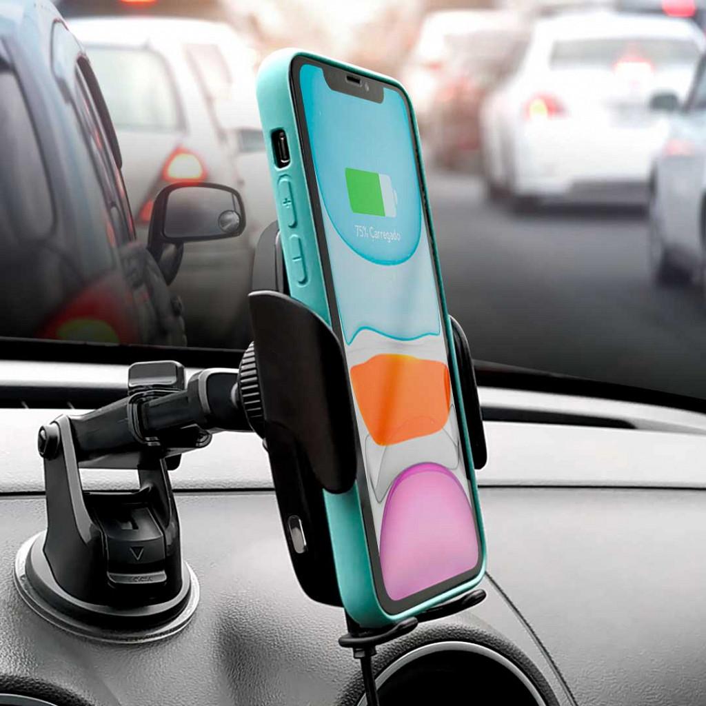 Suporte Veicular com Carregamento sem Fio - Automatic Wireless Car Charger