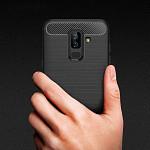 Carbon Fiber para Galaxy A6 2018 Plus - Capa Antichoque Preta