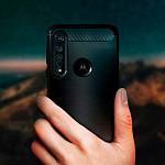Carbon Fiber para Moto G8 Plus - Capa Antichoque Preta