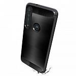 Carbon Fiber para Motorola One Macro - Capa Antichoque Preta