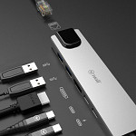 Hub USB-C Plus - Adaptador 6 em 1: HDMI, 2 USB, 2 USB-C, RJ45