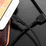 Cabo Micro USB para USB em TPE com 3m Preto - hoco. X20