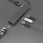 Hub USB-C - Adaptador 5 em 1 - HDMI - 3 USB - RJ45